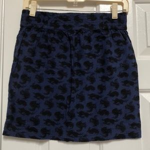 Crepe pencil skirt with bunny and squirrel pattern
